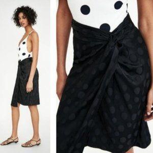 NWT Zara Jacquard Polka Dot Skirt